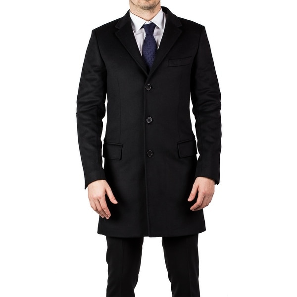 Luciano Barbera Men's Wool Cashmere 3/4 Length Coat Jacket Black