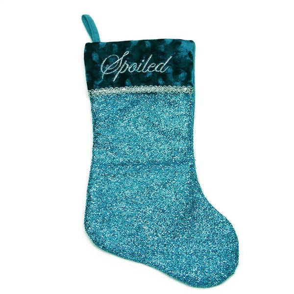 """17"""" Metallic Blue Embroidered """"Spoiled"""" Christmas Stocking with Shadow Velveteen Cuff"""
