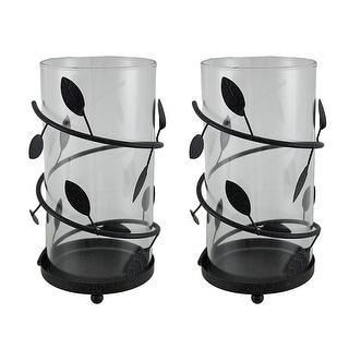 2 Piece Glass Spiral Leaf And Vine Decorative Hurricane Candle Holder Set Black Overstock 16940708