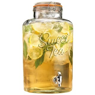 Palais Glassware Clear Glass Beverage Dispenser with Bail & Trigger Locking Lid 2 Gallon Sweet Tea' Embossed.