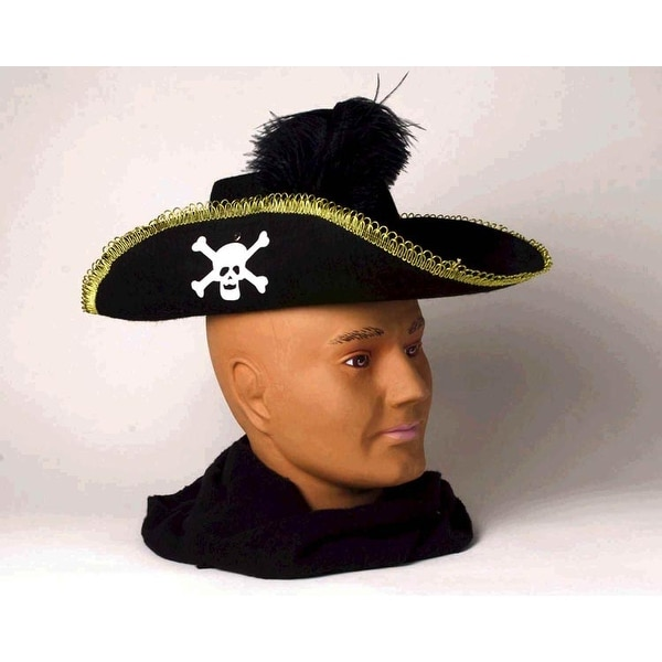 Skull Pirate Adult Costume Hat w/Feather