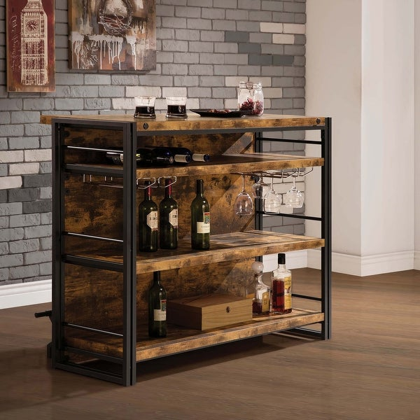Carbon Loft Frobisher Industial Antique Nutmeg Bar Unit with Stemware Rack. Opens flyout.