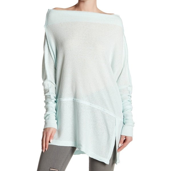 79dc6eb7b43 Shop Free People Green Women's Size Medium M Off-Shoulder Rib Knit Top - Free  Shipping On Orders Over $45 - Overstock - 26909625