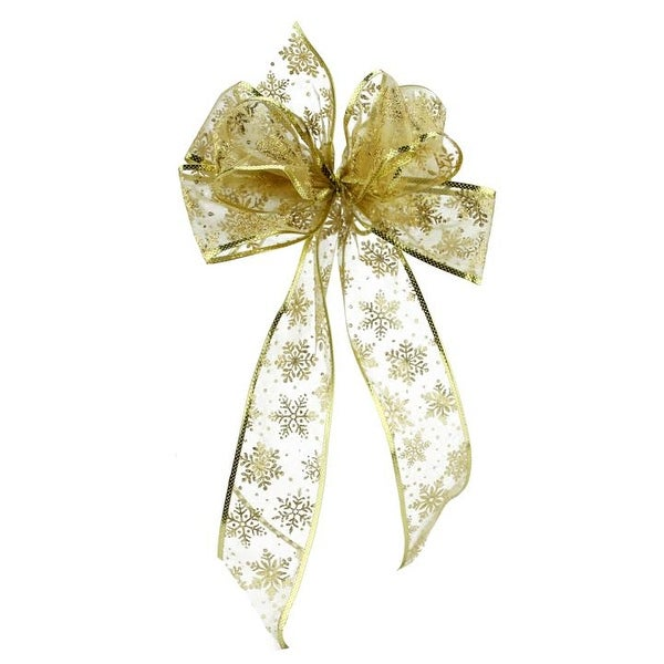 """8"""" x 16"""" Sheer Gold with Sparkling Snowflakes 6 Loop Bow Decoration"""