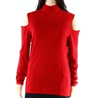 Vertical Design NEW Red Womens Large L Mock Neck Cold Shoulder Top