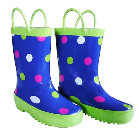 Blue Polka Dots Girls Rain Boots 11-3