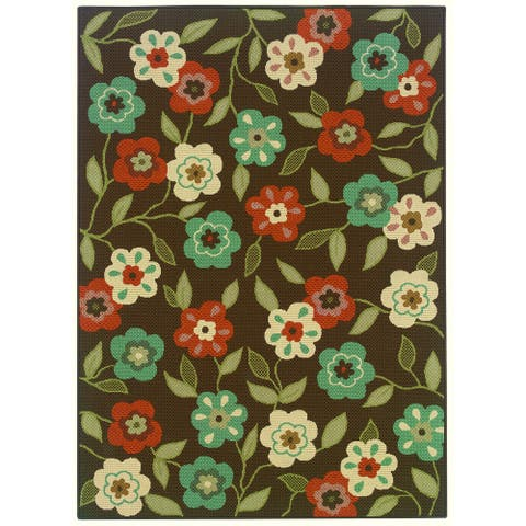 Millau Outdoor/Casual Floral Abstract Area Rug