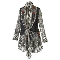 Women's Cardigan - Houndstooth And Lace Mix-Up Sweater