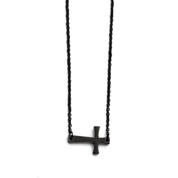 Chisel Stainless Steel Black IP-plated Sideways Cross Necklace (1 mm) - 16.5 in