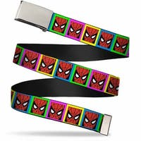 Blank Chrome Buckle Spider Man Face Multi Color Blocks Webbing Web Belt