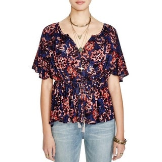 Free People Womens Pullover Top Butterfly Sleeves Floral Print