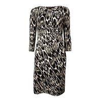 INC International Concepts Women's Keyhole Gathered Dress - Oblong Leopard - S