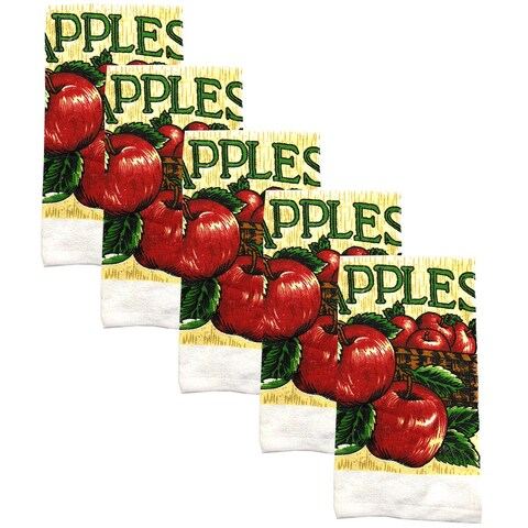Kitchen Collection 5-Piece Bushel Of Apples Towel Set, Red-White, 15x25 Inches - N/A
