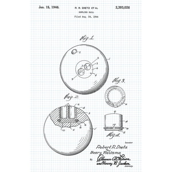 Bowling Ball Patent Poster (Graphite on Blue Graph)-Sports Patents-24x16 Poster