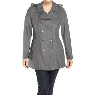 Via Spiga Womens Pea Coat Winter Wool Blend