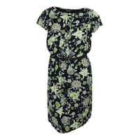 Jones New York Women's Floral Print Ruffled Dress - Navy Multi - 14W