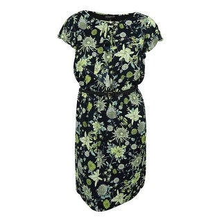Jones New York Women's Floral Print Ruffled Dress - Navy Multi - 14W