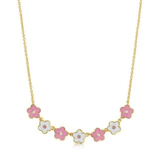 Lily Nily Girl's Flower Links Necklace - Pink