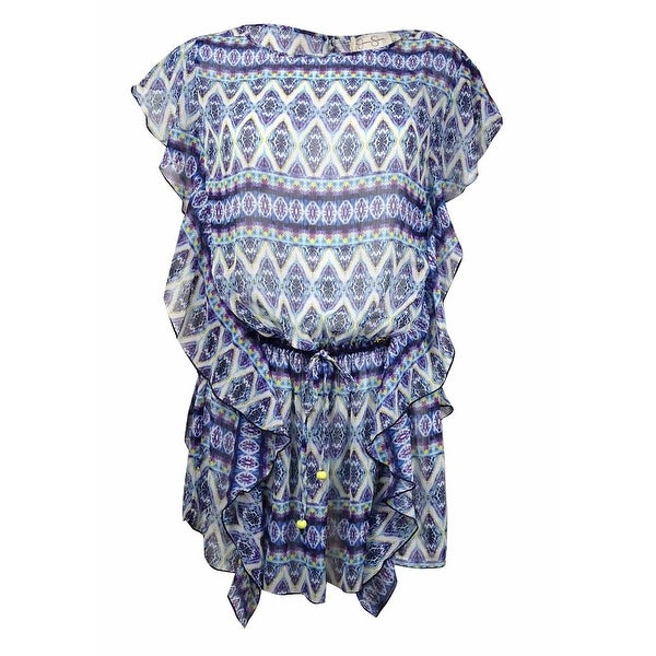 7b07a13a71 Shop Jessica Simpson Women's Diamond Print Belted Ruffled Swim Cover (S,  Marine) - Marine - S - Free Shipping Today - Overstock - 15093930
