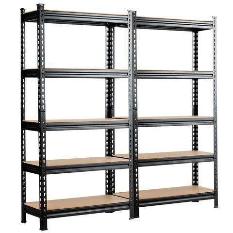 Costway 2/3/4 PCS 5-Tier Metal Shelves 60'' Garage Rack Adjustable