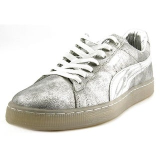 Puma X Meek Mill 24kWhite Men Round Toe Suede Silver Sneakers