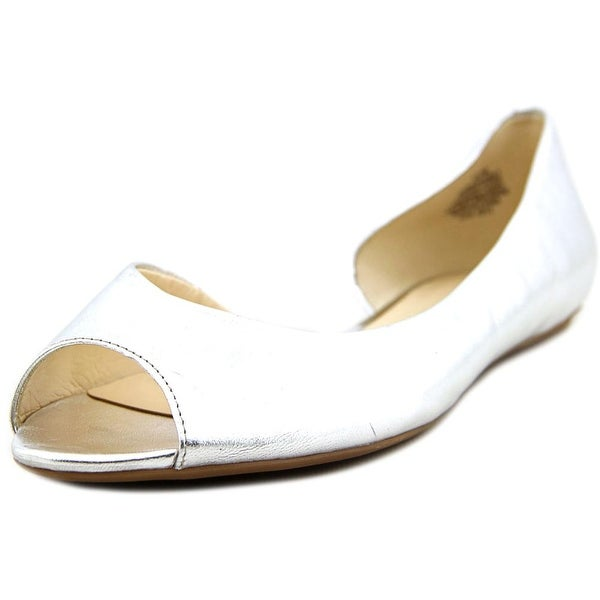Nine West Bachloret Peep-Toe Leather Flats