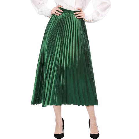 Unique Bargains Women Accordion Pleated Metallic Midi Skirt