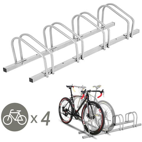 Gymax 4 Bike Bicycle Stand Parking Garage Storage Cycling Rack Silver