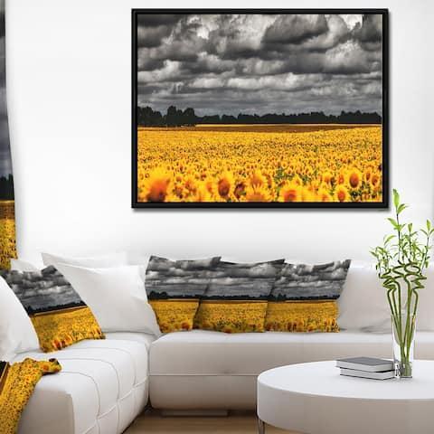 Designart 'Van Gogh Summer with Clouds' Landscape Artwork Print on Framed Canvas