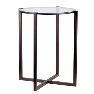 """Kenroy Home 65023  Lodin 24"""" Tall Accent Table with Clear Tempered Glass Top - Satin Bronze"""