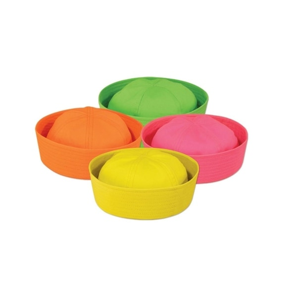 Club Pack Of 12 Neon Yellow Pink Orange And Green Nautical Sailor Hat Costume Accessories Multi Free Shipping Today