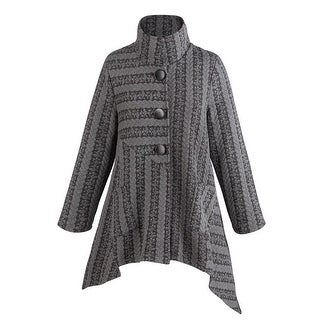Women's Jacquard Knit & Cable Jacket - 3 Button High Collar Uneven Hem