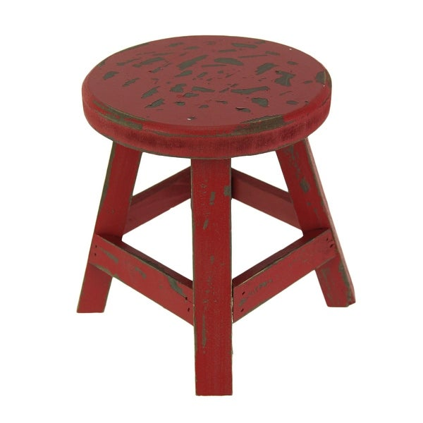 Shop Rustic Red Wooden Farmhouse Milking Stool Plant Stand