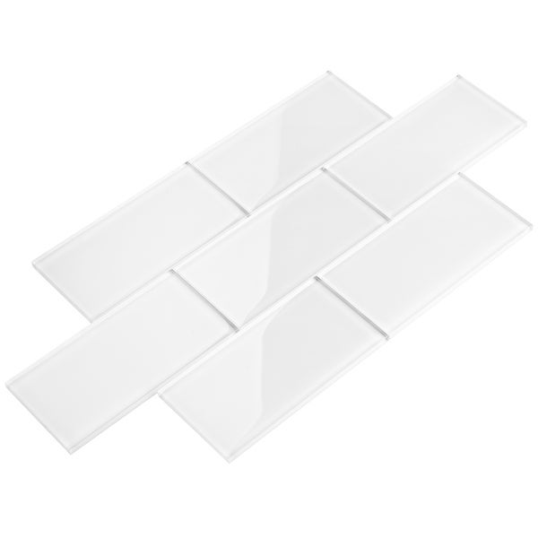 Bright White 3x6 Glass Subway Tiles. Opens flyout.