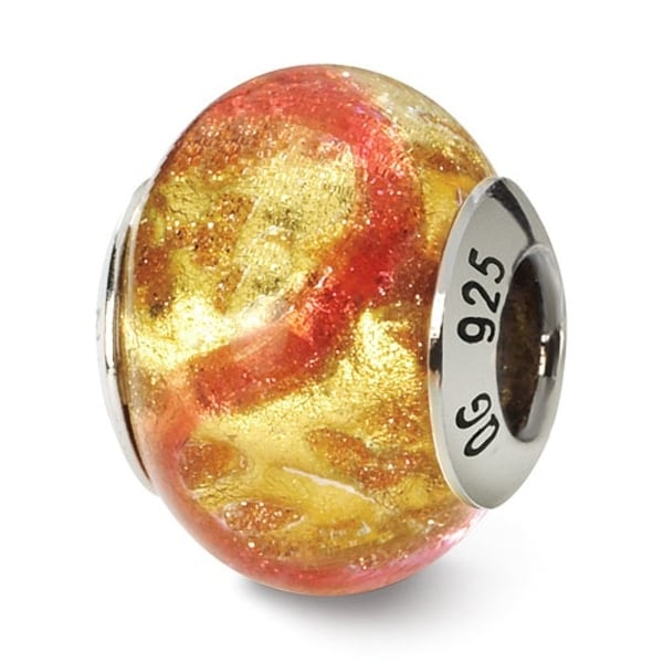 Italian Sterling Silver Reflections Yellowith Pink/Gold Murano Bead (4mm Diameter Hole)