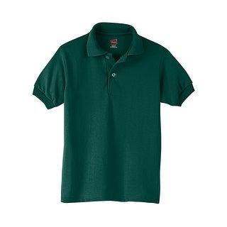 Hanes Kids' Cotton-Blend EcoSmart® Jersey Polo - Size - S - Color - Deep Forest