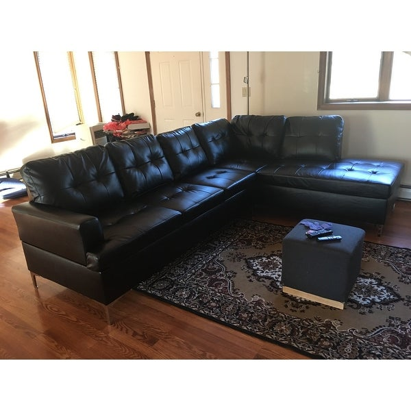 Shop Bonnie Tufted Faux Leather Sofa Sectional With Chaise By INSPIRE Q  Modern   On Sale   Free Shipping Today   Overstock.com   19684752