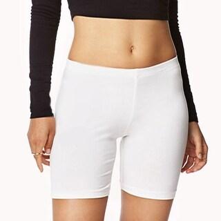 3 Pairs of Women's Knee-Length Slip-on Yoga Shorts with Elastic Waistband