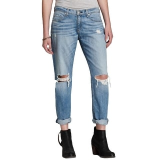 Rag & Bone Womens Boyfriend Jeans Distressed Dirt Wash