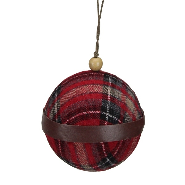 "4"" Red And Black Plaid Fabric With A Brown Strip Christmas Ball Ornament. Opens flyout."