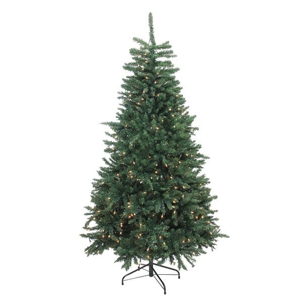 6.5' Pre-Lit Northern Pine Full Artificial Christmas Tree - Clear Lights - green