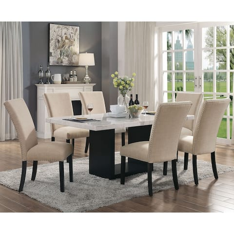 Furniture of America Cots Transitional Light Grey 7-piece Dining Set