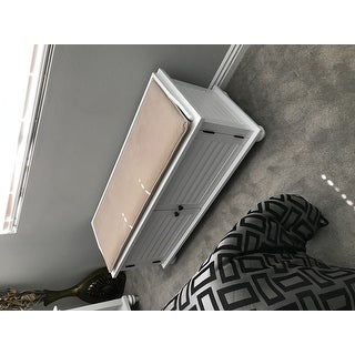 Maybelle Beige Velvet Cushioned Shutter Door Storage Bench by iNSPIRE Q Classic