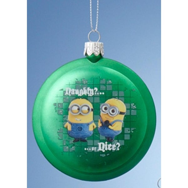 """3.5"""" Despicable Me Green Minions """"Naughty? Nice?"""" and """"Naughty!"""" Disc Christmas Ornament"""
