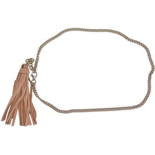 Gucci Women's 388992 Leather Tassel GG Charm Golden Chain Belt