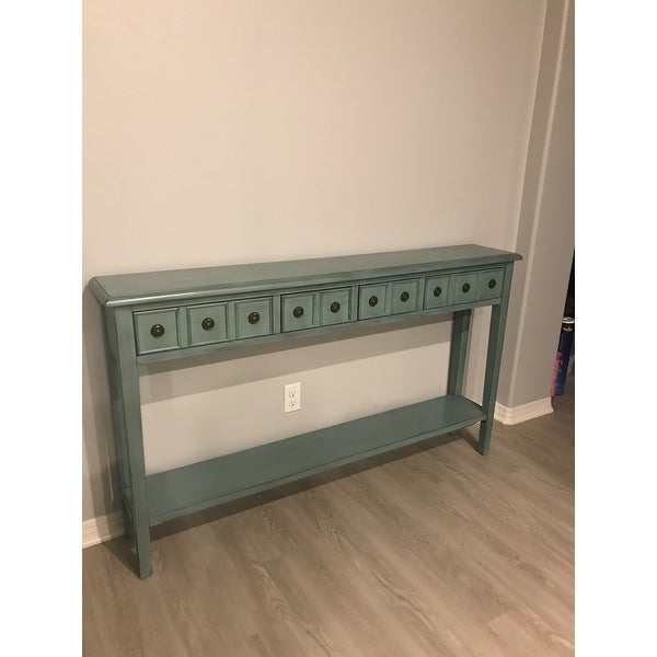 Shop Powell Sadie Teal Wood Long Entryway Console Table   Free Shipping  Today   Overstock.com   14046132