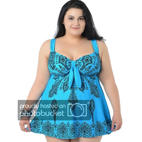 70013c9fdab19 Women's Plus-Size Swimsuit Retro Print Two Piece Pin up Tankini Swimwear