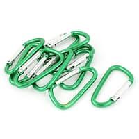 Unique Bargains Camping D-ring Carabiner Keychain Lock Karabiner Hook Key Carrier 10pcs Green