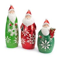"Set of 3 Santa Claus in Glittered Snowflake Suit Christmas Figure Decorations 24.25"" - RED"
