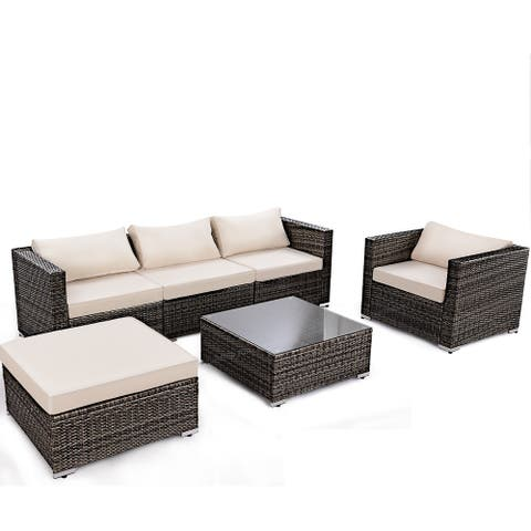 Gymax 6PC Cushioned Patio Set Rattan Wicker Furniture Sectional Sofa